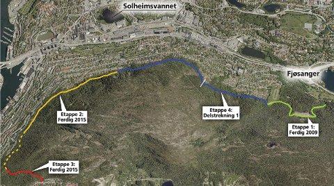 Som dette flyfotoet viser, har Løvstien-prosjektet nødvendigvis vært delt inn i etapper, og dette av ulike årsaker. Mest krevende byggteknisk er nok den aller siste etappen. (FOTO: BERGEN KOMMUNE)