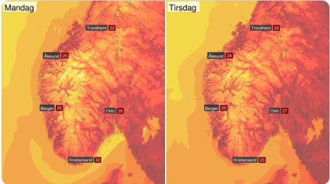 På Østlandet kan det bli en riktig heit start på uka.
