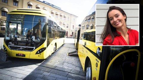 FRYKTER KAOS: Elevrådsleder Adea Alimehaj ved Drammen videregående skole forteller om fulle busser på vei til skolen.