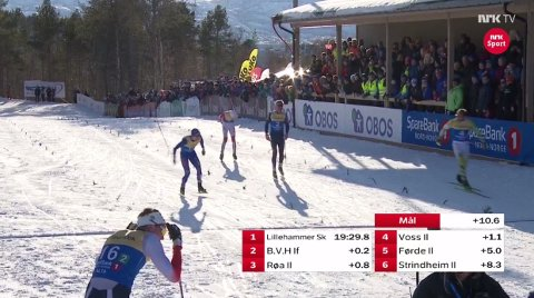 PUSTAR UT: Vel over målstreken kan Gjøran Tefre (nr 16) konstatere at det vart ein femteplass.