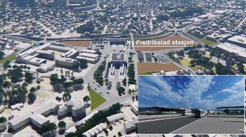 Nytt stasjonsområde: Et nytt knutepunkt på Grønli vil totalforvandle området. Her er stasjonen sett fra St. Hansfjellet. Glemmen videregående til venstre, og Glemmen kirke til høyre. Innfelt bilde av hvordan stasjonsområdet kan se ut.