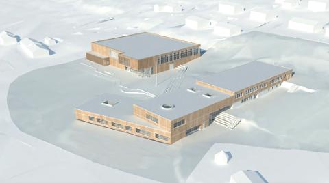 NY SKOLE: Slik blir den nye skolen og flerbrukshallen (bak) seende ut. Skolen skal stå ferdig i august neste år, mens flerbrukshallen og uteområdene skal stå ferdig i august 2021.