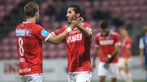 STORSCORERE: Martin Hoel Andersen (t.v.) og Adem Güven har til sammen satt inn 26 av KILs 63 scoringer i 2. divisjon så langtnne sesongen.