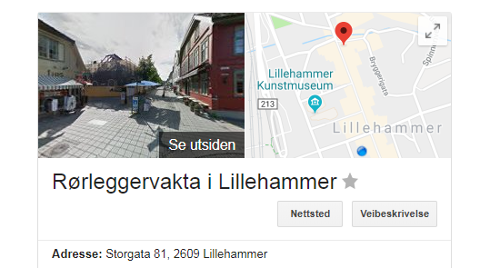 Rørleggervakta i Lillehammer har adresse på branntomta (!) i Storgata 81.