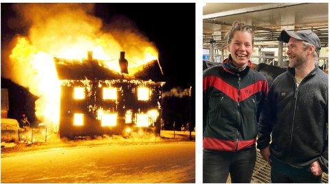 BRANNEN: Bolighuset på småbruket Holsetstugu ble slukt i en eksplosiv brann. Nå har Øivind Lien og Helene Lerstøl funnet en ny gardsdrøm i Steigen i Nordland. Her ser vi dem inne fjøset.