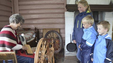 SER PÅ: Edvard (4), Oscar (7) og Aurora (10) Stokke Prestkvern ser på at Wenche Stuenes karder ull.