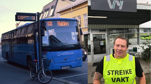 BUSSTREIK: Bjørnar Myrvang er tillitsvalgt i Norsk Jernbaneforbund (NJF) Bil i Halden. Fra søndag av kommer bussene i Halden til å stå. (innfeltet: privat foto)
