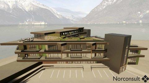 Store planer: Slik ser Almerket AS sine planer for godsterminalen ut - med parkering i kjelleren, næringslokale, kontorer og 25 leiligheter. Illustrasjon: Norconsult