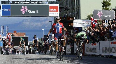 Til helgeland: Arctic Race of Norway skal til Helgeland i år.  Bildet viser Thor Hushovd som vant siste etappe første året.Foto: ASO/Sebastien Boue