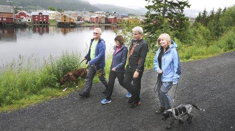 FOLKEHELSE: En tur til Marsøra i Mosjøen gir poeng i Sommertrimmen. Arrangørene mener at de bidrar til folkehelsen med å tilby enkle turmål i tillegg til litt mer ekstreme. I fjor var denne gjengen på tur til Marsøra. Tone Lynghaug, Odd-Håkon Johansen, Frode Johansen og Rita Søttar Johansen.   FOTO: TOR MARTIN LEINES NORDAAS