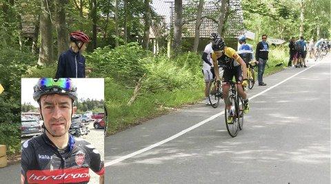 FAR OG SØNN PÅ RITT: Martin Solhaug Hansen på den første tempoetappen. Han syklet U6 Cycle Tour mens pappa Yngvar syklet terrengritt i Uddevalla.  Foto: Privat