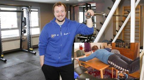 ENKLE TIPS: Sebastian Didriksen jobber på Kippermoen idrettssenter, og etter at treningssenteret ble stengt har han laget hjemmevideoer med styrketrening.  Hvorfor ikke bruke spisebordet? Foto: Per Vikan