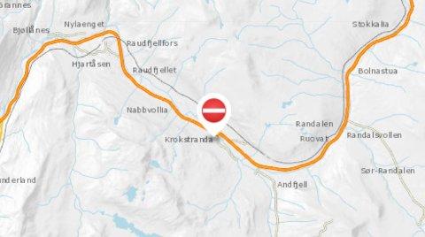 Kartet til Statens vegvesen viser hvor ulykken skal ha skjedd.