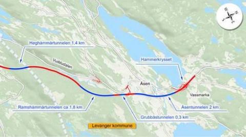 NYE NAVN: De planlagte tunnelene på nye E6 fra Åsen til Kvithammar har fått navn. Nå kan du si hva du mener om forslaget.