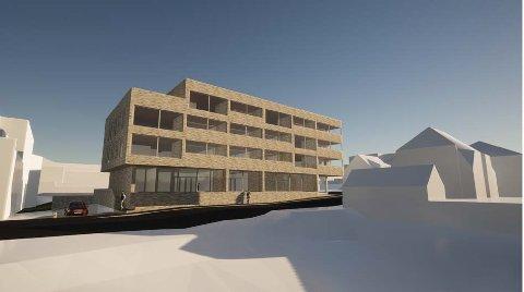 UTBYGGING: Jærbo AS ønskjer å byggja bustader og næringlslokale i Hetlandsgata 16-18 på Bryne. Dei ønskjer ikkje å anlegga ein mellombels park.