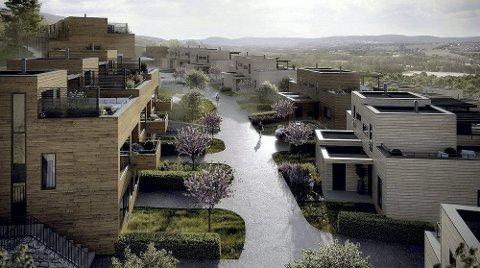 Morgenstemning: Slik ser utbyggerne for seg at livet vil være på Soltoppen. Illustrasjon: solon eiendom