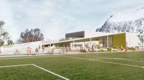 NY SKOLE: Nytt oppvekstsenter på Gimsøy bygges for 36 elever og 12 barnehagebarn. Med dette forslaget til bygg vant TIND Arkitektur AS arkitektkonkurransen.