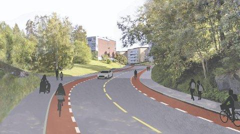 OPPGRADERES: I Langbølgen skal det bygges 1,5 meter brede sykkelfelt på begge sider av veien, her en fersk skisse fra bakken opp fra Nordstrandveien i retning Munkelia. SKISSE: Bymiljøetaten