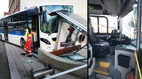 To personer på holdeplassen ble skadet da bussen kjørte rett inn i busskuret. I tillegg ble bussjåføren sendt til UNN og er lagt inn for undersøkelser. Foto: Stian Saur