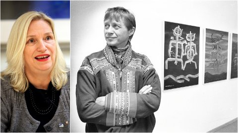 INGEN KUNST: Verkene til Nils-Aslak Valkeapääs skulle stilles ut i Tromsø til høsten. Fungerende daglig leder ved Nordnorsk kunstmuseum Line Fusdahl (til venstre).