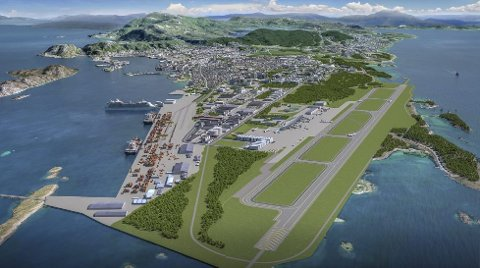 SKISSE: Ved å flytte rullebanen håper Bodø kommune å få bygd en helt ny bydel. Nå har prosjektet fått oppmerksomhet fra hele verden.Skisse: baezeni
