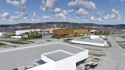 TRE: Jaf Arkitektkontor har sammen med XXL laget skisser til hvordan bygget på Kirkeby kan bli seende ut. Det er       planer om en fasade i treverk, og det er tanker om solfangere på taket.