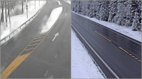VÅTT: Snøen legger seg i veikanten, men både over Lygna (t.v.) og Vardalsåsen var det bar, men våt veibane klokken 10 søndag.