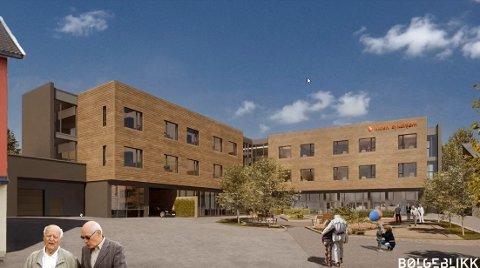 Nytt sykehjem: Det nye skisserte sykehjemmet i Parkvegen med inngang mot sentrum skal ønske byen velkommen inn i følge planene.
