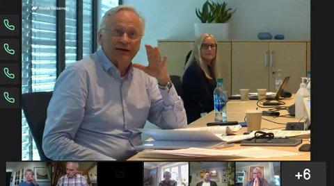 STYRELEDER: Svein Gjedrem under det digitale styremøtet fredag.