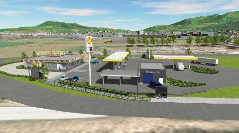NY BENSINSTASJON: Slik blir den nye bensinstasjonen skissert i søknaden om rammetillatelse.