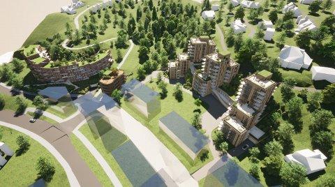 LEILIGHETER: Bakke/SPG ønsker å bygge nærmere 200 boliger i Dammensvika. (Illustrasjon: A38 arkitekter)