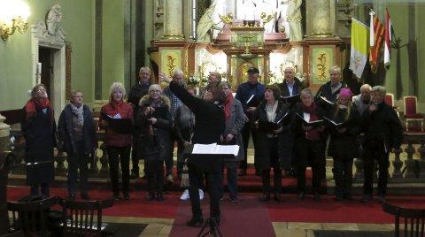 RØYKEN VOKALENSEMBLE: Fra St. Annas kirke i Budapest, der Røyken vokalensemble hadde konsert for et år siden.FOTO: INNSENDT