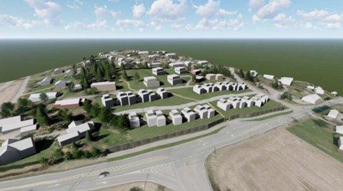 Skissen viser alternativ A som Thongård AS foretrekker. Da blir det totalt 63 boliger i området.