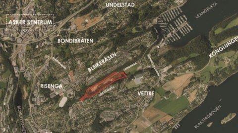 PLANLAGT: Velodromen er planlagt litt sør for Asker sentrum og vil koste 130 millioner kroner.