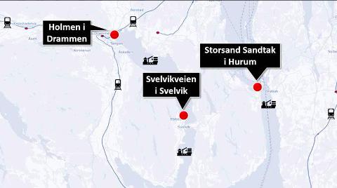 AKTUELLESTEDER: Aktuelle steder for ny utskipningshavn for tømmer.