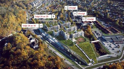 SNART TOMT: Oversikt en status for  salg av leilighetene på Rortunet.