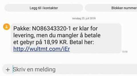 MELDING: Slik så meldingen Poranee Larsen nylig fikk. Ulike varanter av den samme meldingen har i lengre tid blitt sendt ut.
