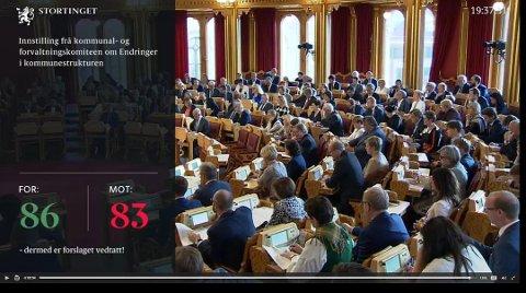 HISTORISK: Stortinget vedtok i juni, med 86 mot 83 stemmer, å slå sammen Askim, Eidsberg, Hobøl, Spydeberg og Trøgstad. Selv om det nå ikke lenger flertall for tvangssammenslåing på Stortinget, er det ikke sikkert det er flertall for reversering.