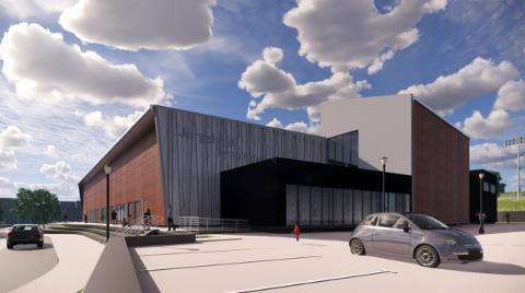 UTVENDIG: Slik er den utvendige fronten på den nye hallen på Jørpeland planlagt å se ut. (Skisse: Backe)