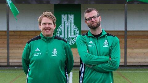 MIL: Oddbjørn Mihle Strand og Ronny Bruun Hansen i Midtbygdens Idrettslag.