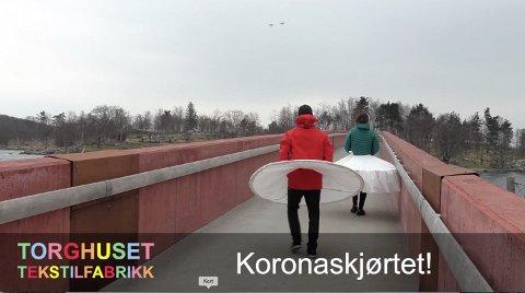 KORONASKJØRTET: Kulturkontoret i Strand lanserer nå koronaskjørtet som kan brukast for å unngå koronasmitte.