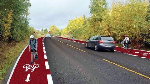 FORSLAG: En skisse på hvordan det kan bli på Gulset med ny sykkelsatsing er laget, strekning Vadrette-Strømdaljordet. Så langt er forslaget at sykkelveien anlegges på østsiden.