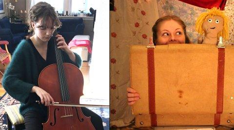 TALENTER: Cellist Anne Handeland og dukkespiller Henriette Grøtting Kihle har fått stipend slik at de kan utvikle seg videre som kunstnere.