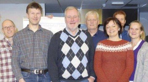 Senterpartiets stemmesankere: Fv Andreas LIlleholt, Lars Nikolai Løvdal, Morten Foss, Kåre Haugaas, Kristin Kjesbu Fredvik, Kristian Foss og May Zwilgmeyer.