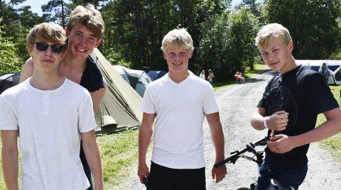 Eskild Oliver Nygård Slettemoen (fra venstre) Vebjørn Langballe, Oskar Isaksen og Sondre Johansen var med på Skjærgårds i fjor.
