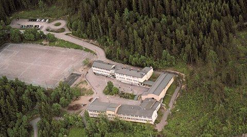 NÆRMER SEG: Slattum skole sett fra luften, og før Hagantunnelen var bygget. Slattumhallen er tenkt satt opp i skogen på nordsiden, til høyre for skolen når du ser på bildet.