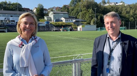 POSITIV: Idrettspresident Berit Kjøll likte godt det hun fikk høre fra ordfører Inge Solli om idrettens kår i Nittedal og den såkalte Nittedalsmodellen.