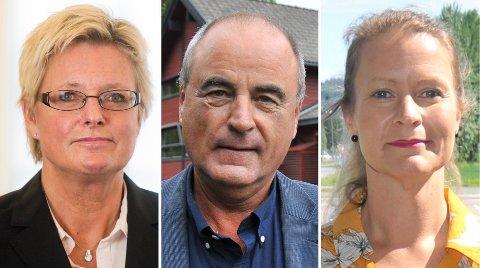 MØTERITINGRETTEN:Tre av de innkalte vitnene; f.v. tidligere rådmann Bitten Sveri, tidligere redaktør Jan Fossen og gruppeleder Ida Eliseussen i Senterpartiet.