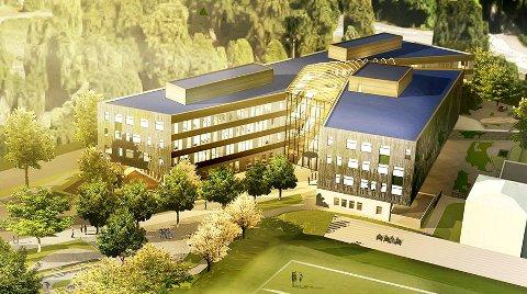 NY SKOLE Fylkeskommunen spanderer ny skole på Horten. Men uten gymsal. Tegning: Veidekke