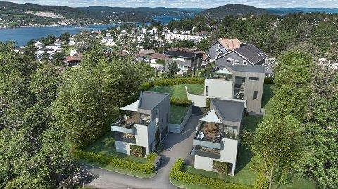 STRANDLINJE? Av fasiliteter i prospektet for disse boligene fristes det med strandlinje. FOTO: DnB Eiendom